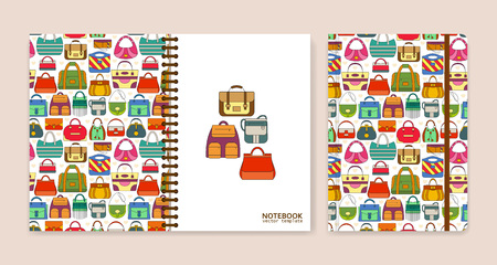 notebook: Cover design for notebooks or scrapbooks with hand bags. Vector illustration.