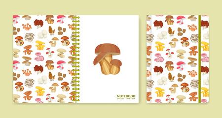 milkcap: Cover design for notebooks or scrapbooks with mushrooms. Vector illustration.
