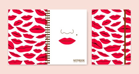 plump lips: Cover design for notebooks or scrapbooks with lips. Vector illustration. Illustration