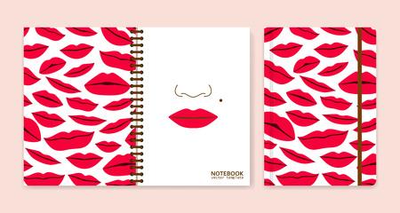 Cover design for notebooks or scrapbooks with lips. Vector illustration. Illustration