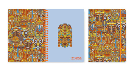 Cover design for notebooks or scrapbooks with ethnic masks. Vector illustration.