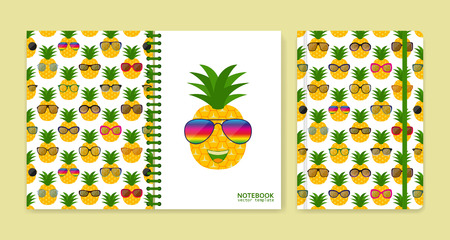 Cover design for notebooks or scrapbooks with pineapples and glasses. Vector illustration. Illustration