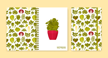 Cover design for notebooks or scrapbooks with green salads and vegetables. Vector illustration. Illustration