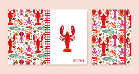 Cover design for notebooks or scrapbooks with seafood. Vector illustration.