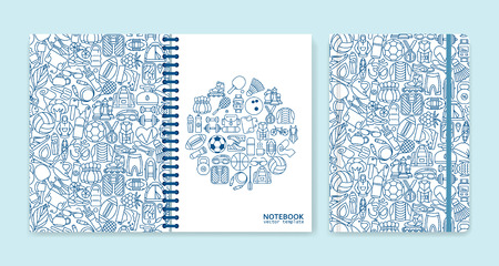 notebook: Cover design for notebooks or scrapbooks with sport and recreation line icons. Vector illustration. Illustration