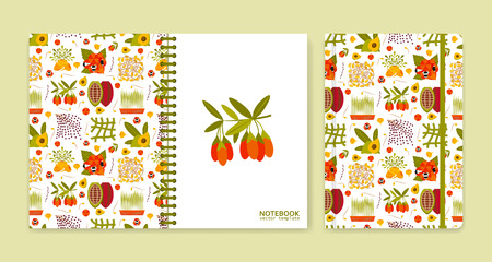 notebook: Cover design for notebooks or scrapbooks with superfood icons. Vector illustration.