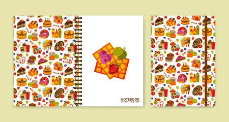 Cover design for notebooks or scrapbooks with sweets. Vector illustration. Illustration
