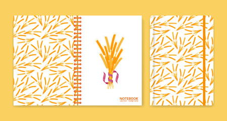 notebook cover: Cover design for notebooks or scrapbooks with wheat. Vector illustration.