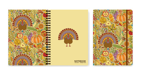 Cover design for notebooks or scrapbooks with autumn pattern and turkey. Vector illustration. Illustration