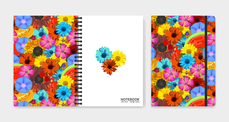 yellow notepad: Cover design for notebooks or scrapbooks with realistic bright flowers and fruits. Vector illustration.