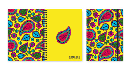 Cover design for notebooks or scrapbooks with beautiful ornamental paisley. Vector illustration.