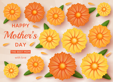 calendula: Cute Happy Mothers Day background in paper art style. Vector illustration. Illustration