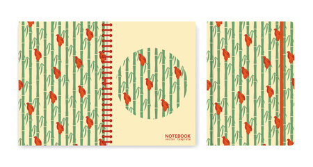 Cover design for notebooks or scrapbooks with sparrows sitting on bamboo. Vector illustration.