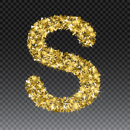 glassy: Gold glittering letter S. Vector shining golden font lettering of sparkles on checkered background.