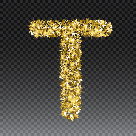 festivity: Gold glittering letter T. Vector shining golden font lettering of sparkles on checkered background.