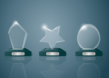 star award: Sport competitions glass trophies prizes collection on transparent reflective surface realistic image with dark shadowy background vector illustration.