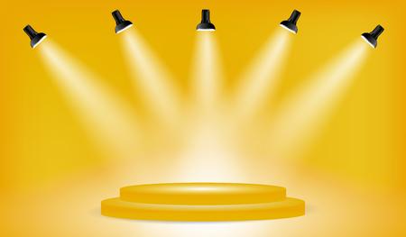 5 スポット ライト黄色背景にプレゼンテーション ・ プラットフォームとライト ボックスです。編集可能な背景のベクトル図です。ポスターやパン
