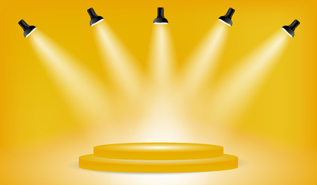 Light box with presentation platform on yellow backdrop with five spotlights. Editable Background Vector illustration. Poster or brochure template.