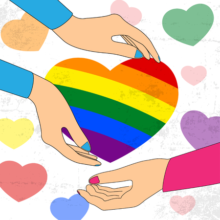 homophobia: Two Hands taking heart. LGBT support symbol with lettering in rainbow colors. Icons, logo template. Modern flat vector illustration stylish design element. Illustration