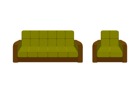 settee: Colorful icon chair and sofa. Collection of furniture for home interiors. Vector illustration in flat style. Illustration