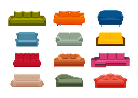 Colorful icon sofa set. Collection of furniture for home interiors. Vector illustration in flat style.