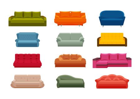 Kleurrijke pictogram bankstel. Verzameling van meubels voor thuis interieurs. Vectorillustratie in vlakke stijl.