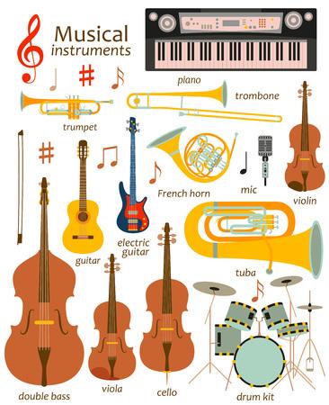 Music instruments icon set. Vector flat illustration