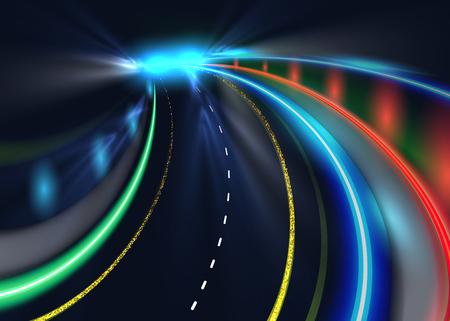 nighttime: City road car light trails.