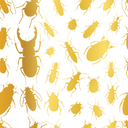 stag beetle: A Seamless pattern with golden insects. Vector illustration.