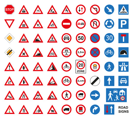 Traffic road signs set isolated on the white. Vector illustration.