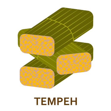 大豆テンペ色フラット アイコン。ベクトルの図。  イラスト・ベクター素材