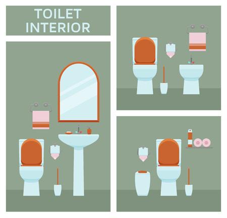 modern interior: Toilet interior set in flat style. Vector illustration Illustration