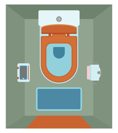 Ceramic toilet interior with glass shelf for phone in flat style. Top view. Vector illustration Illustration