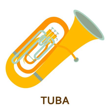 Music instrument icon. Tuba. Vector flat illustration
