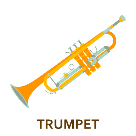 Music instrument icon. Trumpet. Vector flat illustration