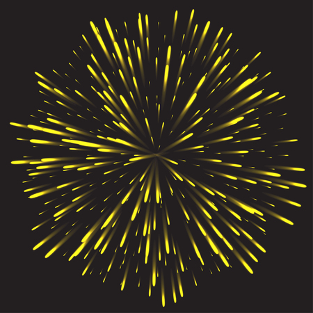 bengal fire: Glowing collection Firework, light effects isolated on dark background. Illustration