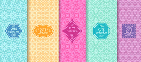 pale colors: Set of cute bright seamless patterns with frames. Abstract geometric background. Vector illustration.