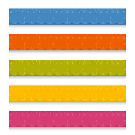 Set of multicolored school measuring rulers with centimeters and inches. Vector illustration Illustration