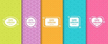 pale colors: Set of cute bright seamless patterns with frames. Abstract geometric background