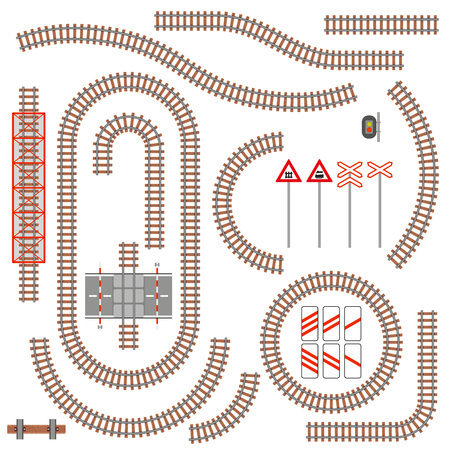 Set of railway parts and road signs. Vector illustration.