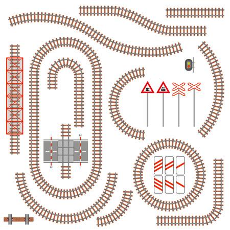 Set van spoorwegonderdelen en verkeersborden. Vector illustratie.