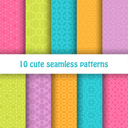 pale colors: Set of cute bright seamless patterns. Abstract geometric background. Vector illustration. Illustration