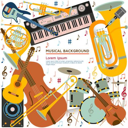 Sottofondo musicale composto da diversi strumenti musicali, chiave di violino e note. Posto di testo Illustrazione vettoriale colorato Archivio Fotografico - 82280247