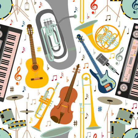 Musical seamless pattern made of different musical instruments, treble clef and notes. Colorful vector illustration. Reklamní fotografie - 82309399