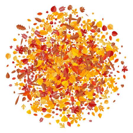 Autumn pattern with bright tree leaves. Cartoon vector illustration.