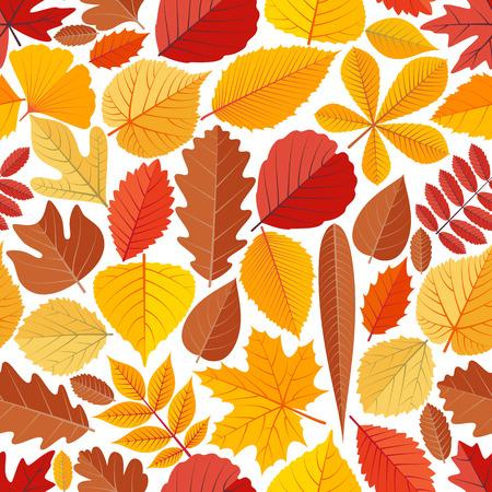 Seamless pattern with autumn tree leaves. Cartoon vector illustration.