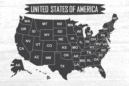 Poster map of United States of America with state names. Black and white print map of USA for t-shirt, poster or geographic themes. Hand-drawn font and black map with states. Vector Illustration. Stock Photo