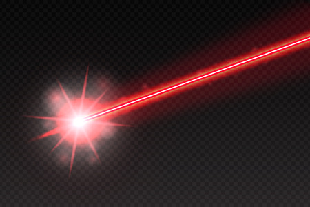 Abstract red laser beam. Magic neon light lines isolated on checkered background. Vector illustration