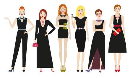 Attractive women in elegant black dresses. Vector illustration
