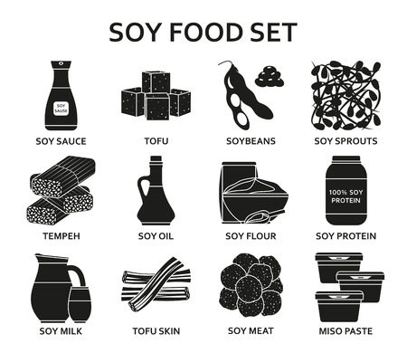 Soy food silhouette icons set. Vector illustration.